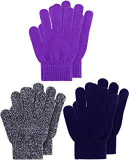 3 Pairs Kids Gloves Full Fingers Knitted Gloves Warm Mitten Winter Favor for Little Boys and Girls