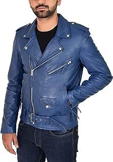 Mens Blue Leather Biker Jacket Fitted with Belt Retro Brando Style Coat - Elvis