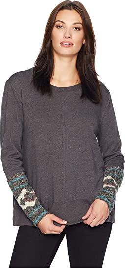 Long Sleeve Fleece Sweatshirt with Melange Navajo Cuff Detail