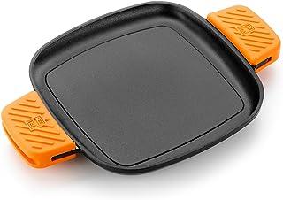 BRA Efficient Iron - Parrilla Cuadrada 24 cm, Fabricada en Hierro Fundido Esmaltado, Apta para su Uso en Horno y Todo Tipo de Cocinas, Incluída Inducción, Apta para el Lavavajillas