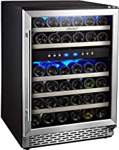 Phiestina 46 Bottle Wine cooler 24 Inch Dual Zone Built-In or Freestanding Wine Refrigerator with Compressor Cooling System