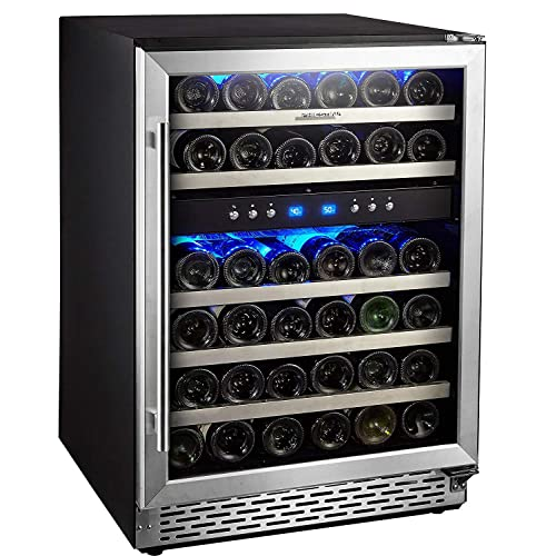 Phiestina 46 Bottle Wine cooler 24 Inch Dual Zone Built-In or Freestanding Wine Refrigerator