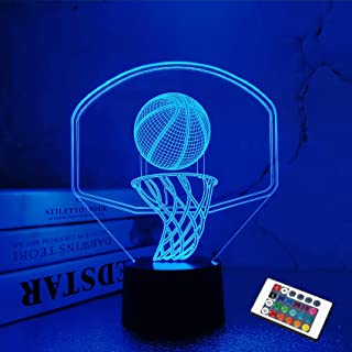 Basketball 3D Night Light,FULLOSUN Backboard Illusion LED Lamp for Kids' Bedroom Décor, Xmas Birthday Personalized Gifts f...