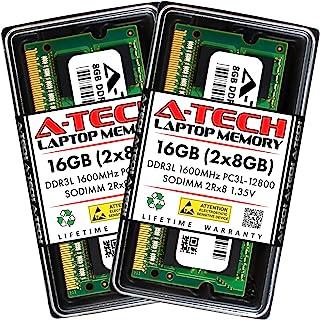 A-Tech 16GB Kit (2X 8GB) DDR3/DDR3L 1600MHz PC3L-12800 2Rx8 1.35V CL11 Non ECC Unbuffered Low Voltage 204 Pin SODIMM Lapto...
