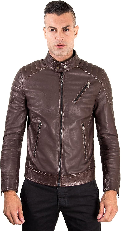 Dark brown quilted lamb leather biker jacket three zipper pockets
