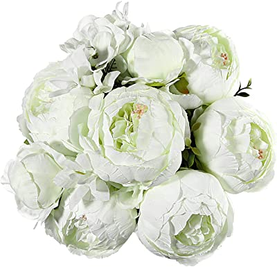 EZFLOWERY 1 Pack Artificial Peony Silk Flowers Arrangement Bouquet for Wedding Centerpiece Room Party Home Decoration, Elegant Vintage, Perfect for Spring, Summer and Occasions (1, New White)