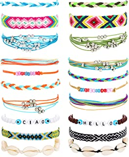 LOLIAS 20 Pcs Woven Friendship Bracelets Set for Women Men Bohnmian Colorful Handmade Braided Shell Bracelets Waterproof A...