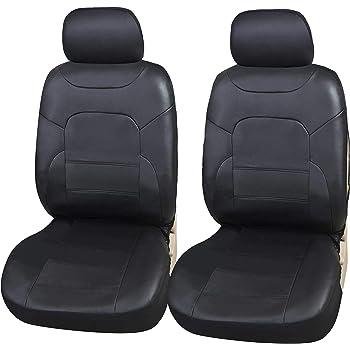 2x Schonbezüge Schwarz Kunstleder Autositzbezüge für Peugeot Renault Seat VW