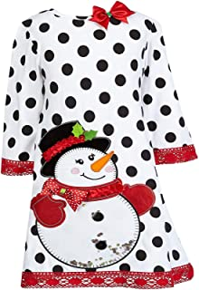 Counting Daisies Girls Size 7-16 Dot Snowman Christmas Dress