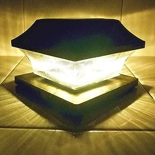 Sogrand Solar Post Cap Lights 4 x 4 Plus Bright 15 Lumen 2 Pack Outdoor Warm White LED Lamp for Vinyl Posts Caps 3.5x3.5 4x4 5x5 Waterproof 5