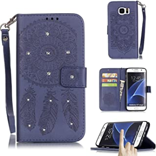 Galaxy S7 Edge case, Firefish Kickstand [Card Slots] Campanula Embossed and Shining Diamond Dual Layer Resistant Case with Wrist Strap Magnetic Snap Closure for Samsung Galaxy S7 Edge