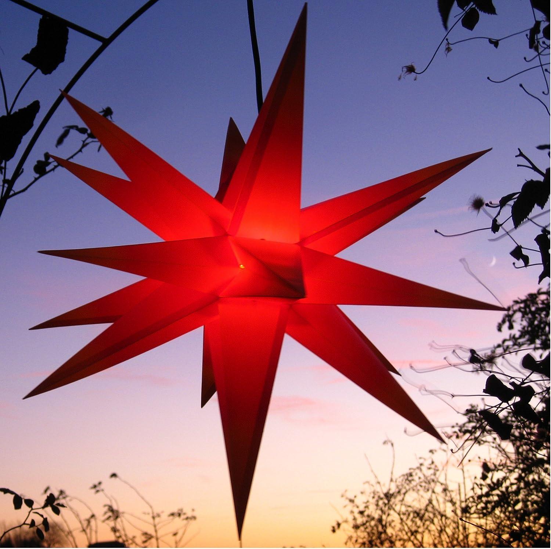 Auenstern mit LED 65 cm rot beleuchteter Stern Weihnachtsstern Faltstern, Leuchtmittel LED (StaRt-NDL-DUH-E14-3,5W), kein stranflliger Trafo ntig