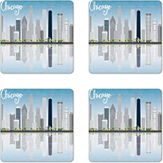 Ambesonne Chicago Skyline Coaster Set of 4, Skyscrapers Lake Michigan Illinois Classic American Scenery Street, Square Hardboard Gloss Coasters for Drinks, Standard Size, Blue Grey