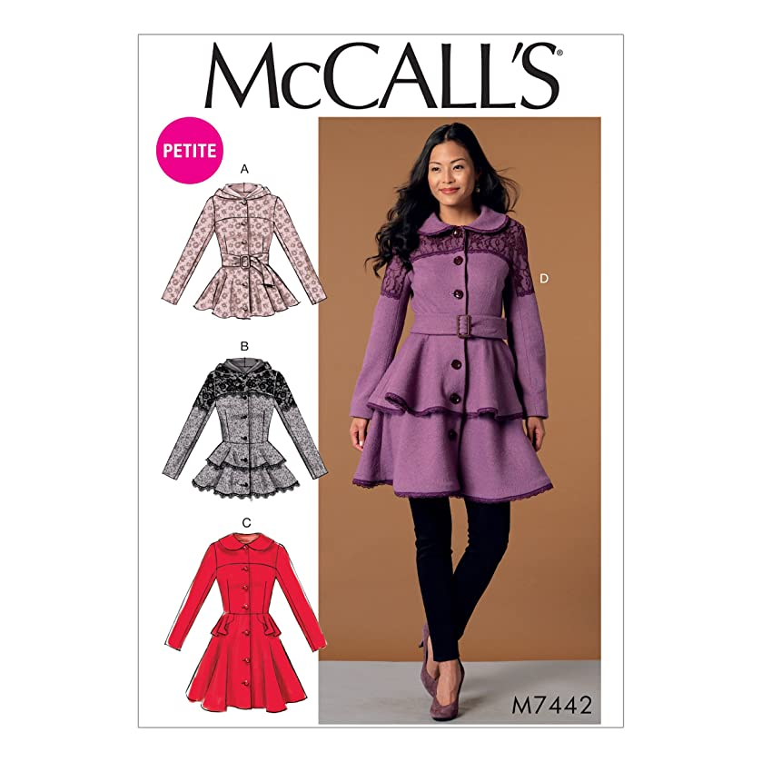 MCCALLS M7442 (SIZE 6-14) Misses'/Miss Petite Peplum Jackets and Coats with Belt SEWING PATTERNS