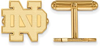 University of Notre Dame Fighting Irish School Letters Cuff Links Set in Gold Plated Sterling Silver 15x15mm
