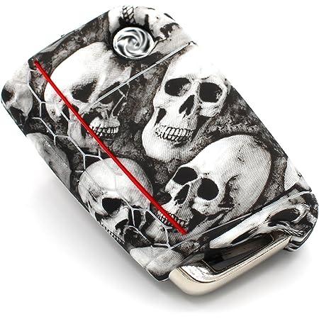 Finest Folia Schlüssel Hülle Vb Für 3 Tasten Auto Schlüssel Silikon Cover Schlüsselhülle Etui Schutzhülle Totenkopf Schwarz Weiß Auto