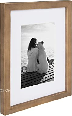 DesignOvation Gallery 5x7 matted to 3.5x5 Wood Picture Frame, Set of 4, Rustic Brown, 4 Count