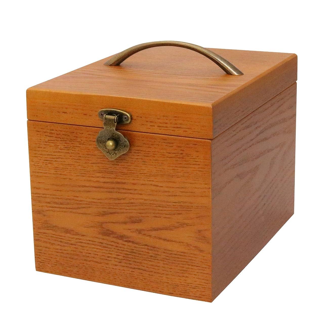 品揃えキャビン富クレエ 木製 メイクボックス 鏡付き化粧品箱 ブラウン 90900044 18×24×17.5