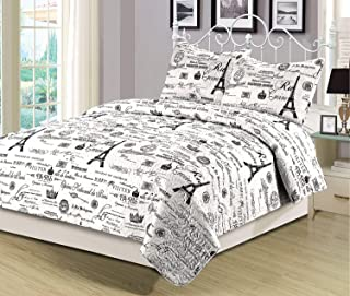 HowPlumb Queen Quilt Set 3 Piece Paris Eiffel Tower Black and White