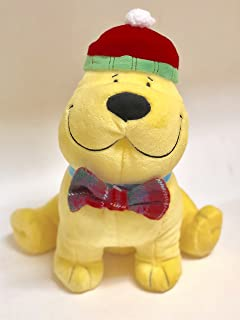 """Scholastic Clifford The Big Red Dog Yellow T Bone Puppy In Christmas Holiday Santa Hat And Bow Tie 11"""" Plush Soft Doll Toy"""