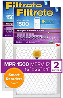 Best Filtrete 16x25x1, Smart Replenishable AC Furnace Air Filter, MPR 1500, Allergen, Bacteria & Virus, 2-Pack (exact dimensions 15.719 x 24.72 x 0.78) Review