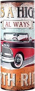Rebecca Mobili Paragüero Vintage, Soporte Paraguas Redondo, Lienzo MDF, Amarillo Rojo Azul Claro, accessorios Entrada Pasillo hogar- Medidas: 49 x 20 x 20 cm (AxANxF) - Art. RE4830