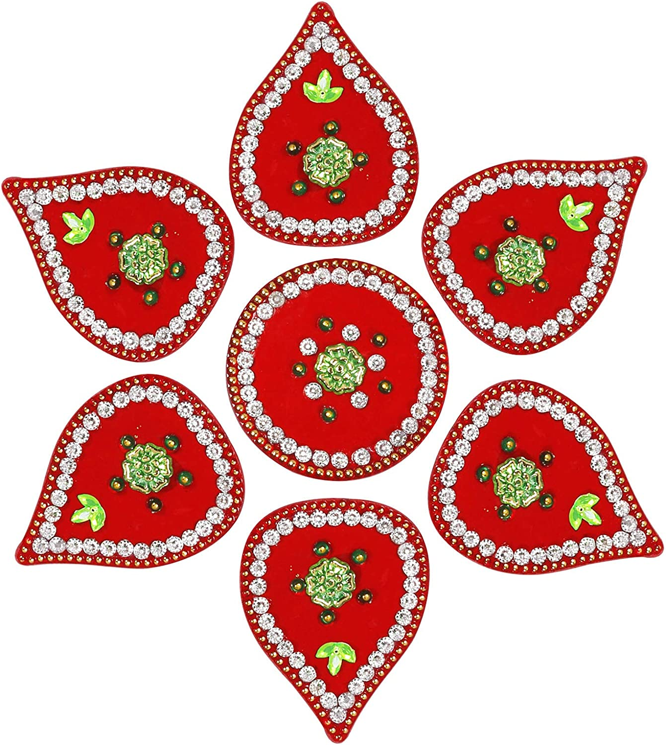 Max 76% OFF ARTISENIA Diwali Rangoli Indian Cheap mail order specialty store Modak 7 Shape Red Pieces