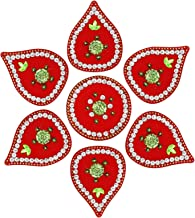 ARTISENIA Diwali Rangoli Indian Modak Shape 7 Pieces Red Rangoli Floor Table Decoration Studded Stones Sequins Traditional...
