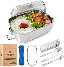 DecoHaus Praktische roestvrijstalen Bento Box met bestek en bestektas, 1400 ml, Zero Waste roestvrijstalen broodtrommel en...
