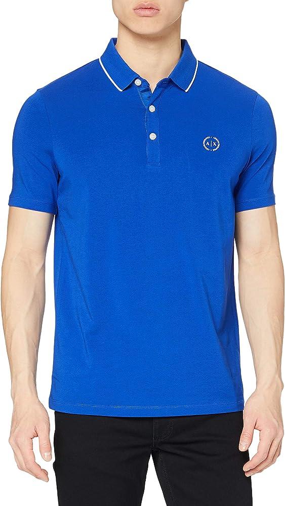 Armani exchange polo, maglietta per  uomo a maniche corte, 95% cotone, 5% elastan, bluette 8NZF70Z8M9ZD