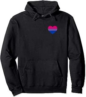 Bisexual Flag, LGBT, Love Heart Pocket Print, Pride March Pullover Hoodie