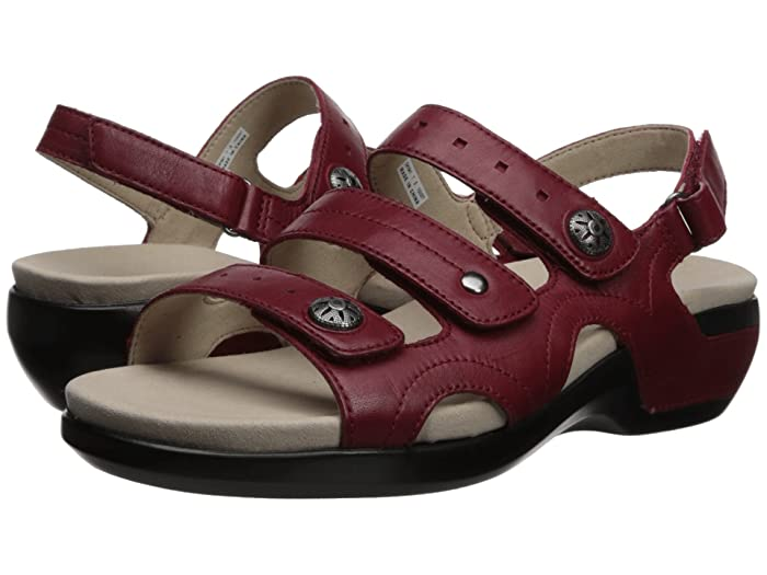 Aravon  PC Three Strap (Rio Red Leather) Womens Sandals