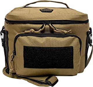 HSD Lunch Bag, Insulated Cooler, Large Thermal Lunch Box Tote with MOLLE/PALS Webbing, Adjustable Padded Shoulder Strap, for Tactical Men Women Adults (Coyote Brown)