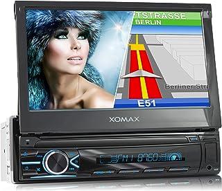 XOMAX XM VN745 Autoradio mit Mirrorlink I GPS Navigation I Bluetooth I 7' / 18 cm Touchscreen Bildschirm I RDS, USB, AUX I Anschlüsse für Rückfahrkamera und Lenkradfernbedienung I 1 DIN