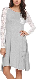Women's Lace Long Sleeve Asymmetrical Hem Casual Tunic Dress with Buttons