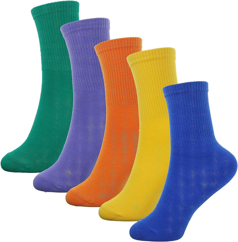 5 Pairs Cow Pattern Print Crew Funny Socks for Women Girls Casual Socks