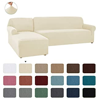 CHUN YI 2 Pieces L-Shaped Left Chaise Jacquard Polyester Stretch Fabric Sectional Sofa Slipcovers Dust-Proof L Shape Corner 2 Seats Sofa Cover Set for Living Room(Cream White)
