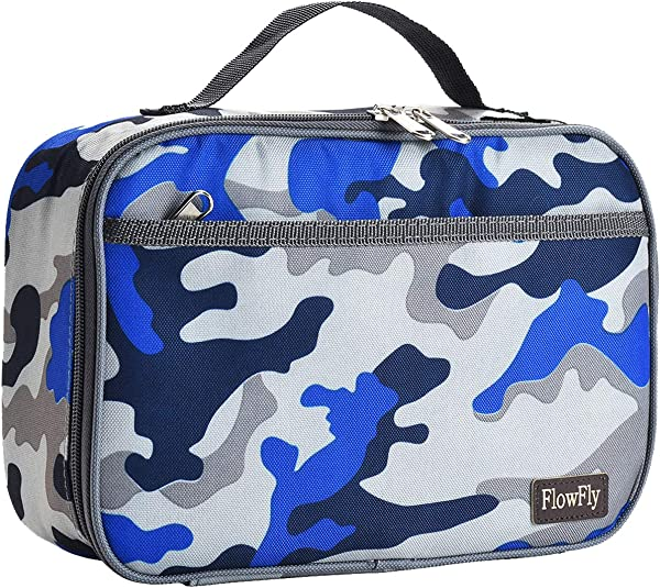Kids Lunch Box Insulated Soft Bag Mini Cooler Thermal Meal Tote Kit With Handle And Pocket For Girls Boys By FlowFly Blue Camo