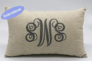 YugTex Cushion Cover Embroidered Monogrammed PillowCover, Personalized Rustic Lumbar PillowCover, Throw Pillowcases, Gifts for Wedding, Housewarming, Couple Gifts, Nursery,Christmas Gifts