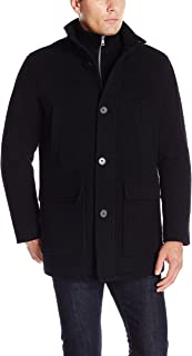 Men's Wool Plush Car Coat with Attached Bib