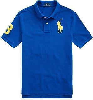 Polo Ralph Lauren Boy`s Classic Fit Mesh Polo Shirt, Sapphire Star(610482)/Yellow, Medium