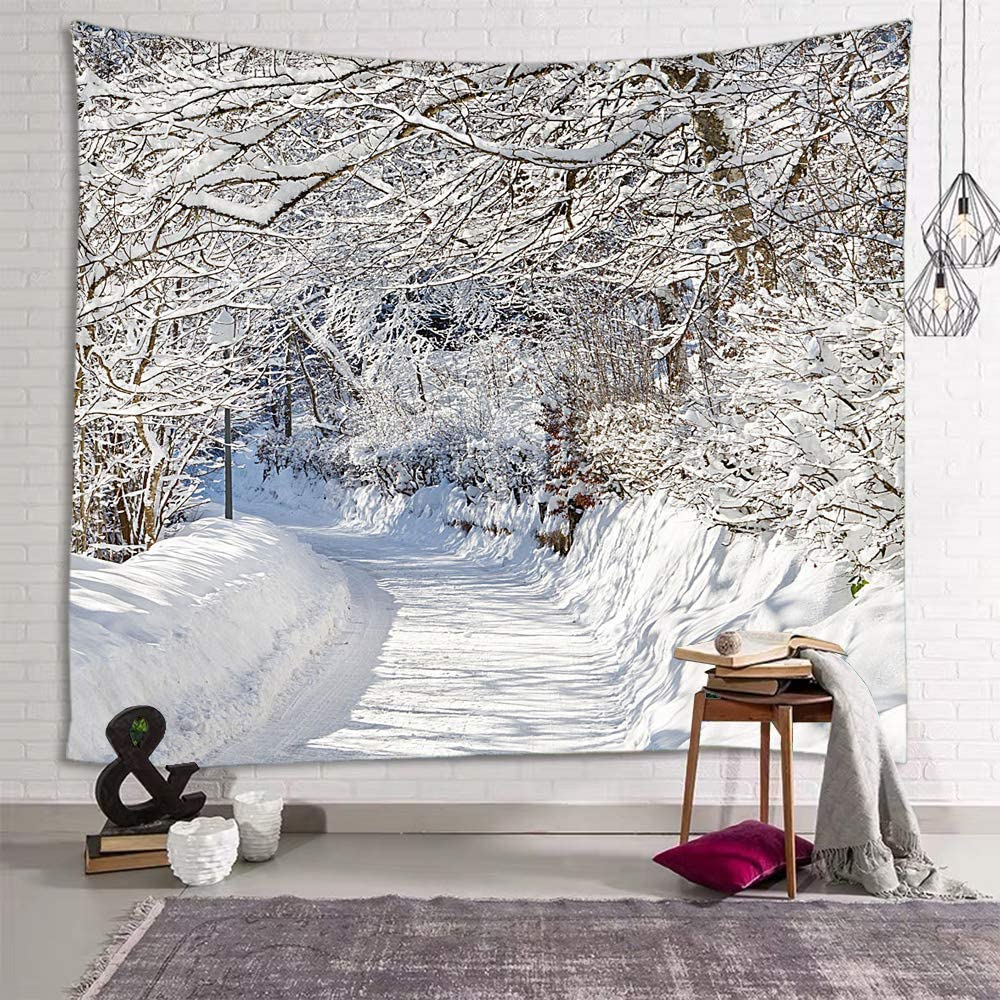 Tulsa Mall fangzhuo Christmas Tapestry Snow Forest NEW before selling ☆ Winter Whi Wall