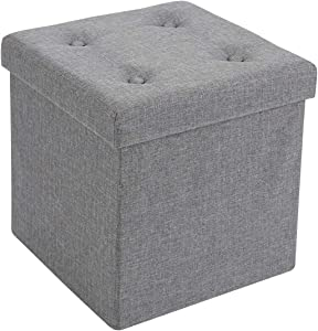 """Fresh Home Elements FHE 15"""" Tufted Folding Storage Ottoman Cube, 15 x 15 x 15, Heather Grey Linen Fabric, Easy Transformation for Extra Storage, Seating, and Foot Rest, Family, Guests, Decluttering"""