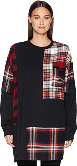 Patched Tunic Sweatshirt