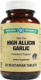 Natural Vitamin Co. - High Allicin Garlic, Garlic 500mg, Minimum 5mg Allicin, 60 Tablets, 2 Month Supply, Odor Free, Glute...