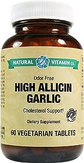 Natural Vitamin Co. - High Allicin Garlic, Garlic 500mg, Minimum 5mg Allicin, 60 Tablets, 2 Month Supply, Odor Free, Gluten Free, Vegetarian, Vegan