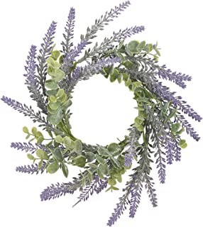 Lavender Soft Purple and Green 10 x 10 Acrylic Artificial Flower Candle Ring