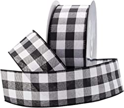 """Royal Imports Buffalo Checkered Plaid Ribbon Wired, Black/White, 2.5"""" (#40) Gingham Design for Bow Making, Gift Wrapping, ..."""