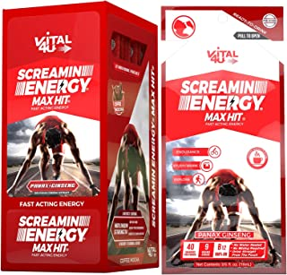 Screamin Energy Max Hit Maximum Strength Energy Drink with Panax Ginseng, Caffeine and Vitamins - Coffee Mocha Flavor, 24 Count