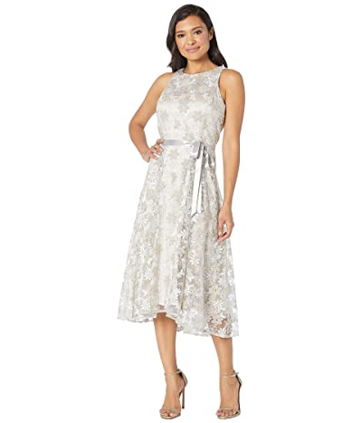 Tahari by ASL Sleeveless Embroidered High-Low Hem Dress (Silver/Champagne) Women